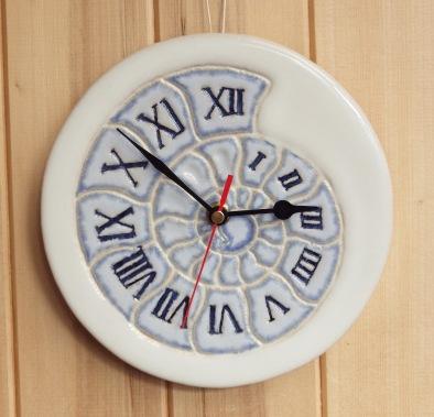 ammonite clock blue