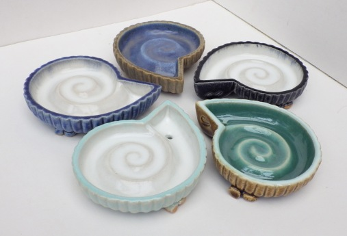 Ammonite soap dishes by Louise Pull