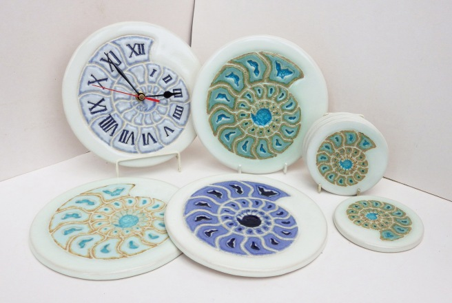 Ammonite tiles clock and coaster by Louise Pull copy